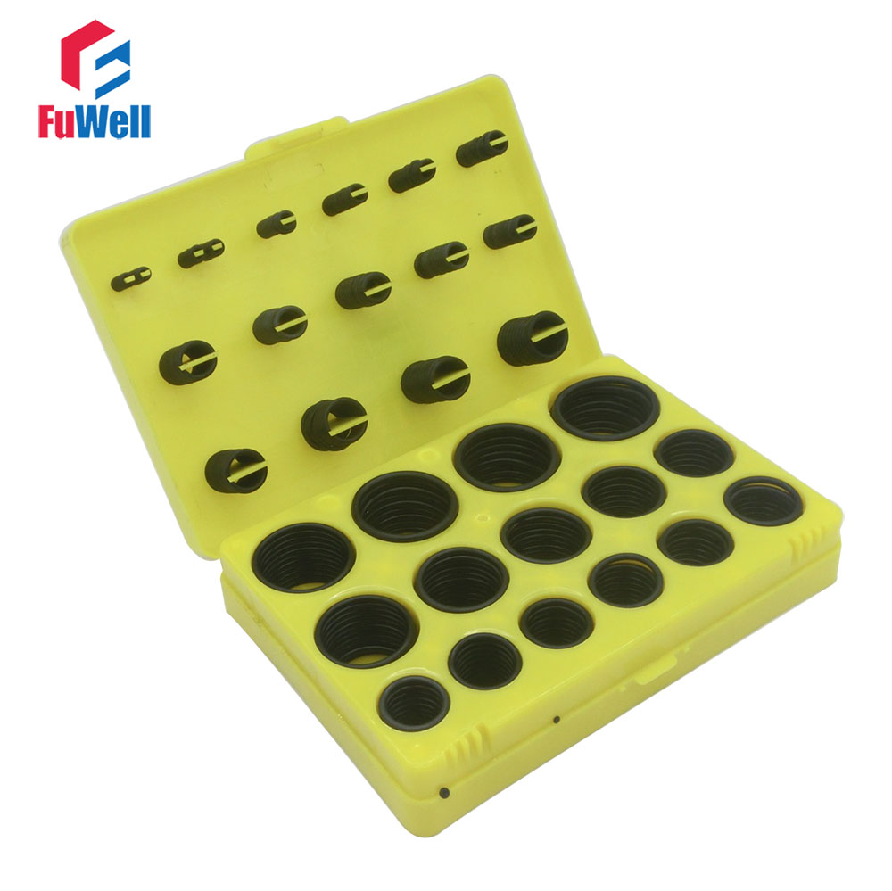 386pcs Black NBR O Ring Seal Kit 30 Different Sizes Rubber O-ring Sealing Gasket Assortment Set with Yellow Plastic Case creativity street wiggle eyes assortment assorted sizes black 100 pack