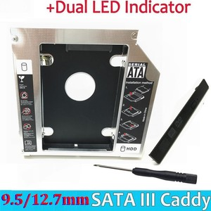 "Image 1 - Universal Aluminium 2nd HDD Caddy 12,7mm SATA III für 2,5 ""12,5mm 9,5mm 9mm 7mm SSD HDD Fall Gehäuse + Dual LED für Laptop ODD"