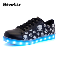 Bevoker New Lighted Casual Sneakers Men Unisex Light Up Shoes 7 Colors Glowing LED Shoes For