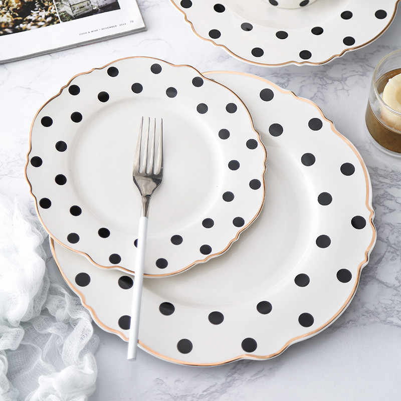 Golden Edge Dinnerware Set Polka Dot Dinner Plate Set Soup Dish Western Flat Plate Flower Shape Breakfast Tableware Dessert Tray