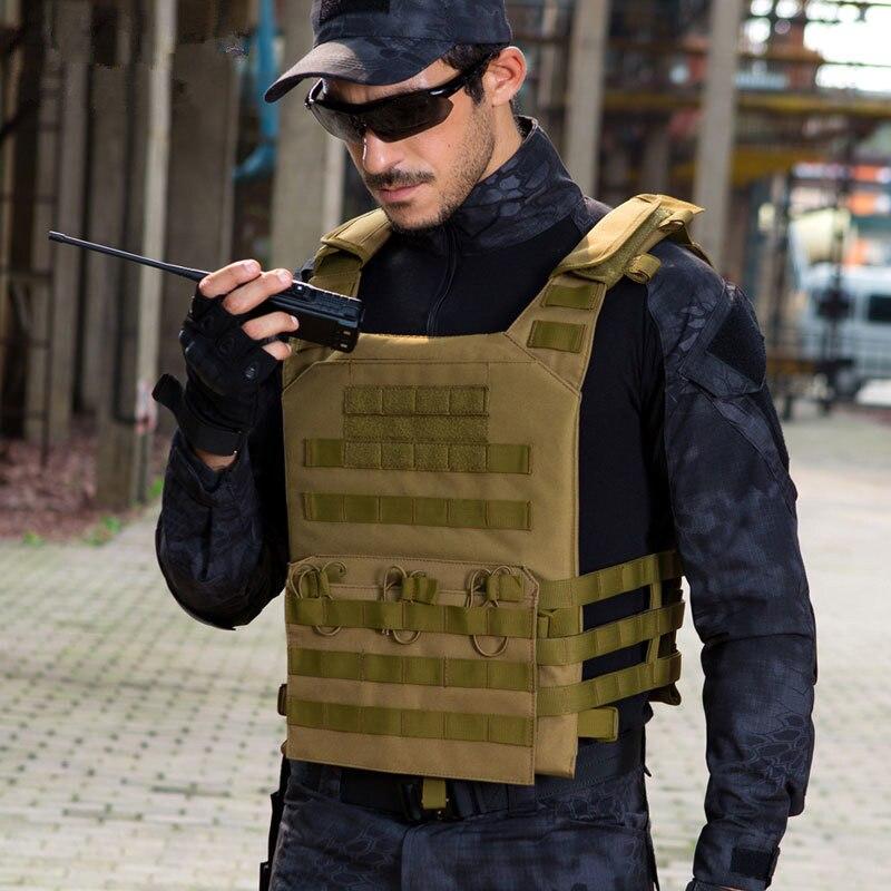 Armée tactique gilet Camo militaire poches MOLLE réglable armure extérieure amphibie gilets pêche chasse Sports sécurité sacs à dos