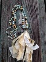 N16040812 Knot Amaonite Beads Necklace Shabby BoHo Sari Silk Tassel Necklace