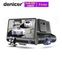 New 3 Cameras Car DVR 4 inch IPS Dash Cam three way high speed Full HD 1080P Driving DVRs Dual Lens Special Recorder for Travel