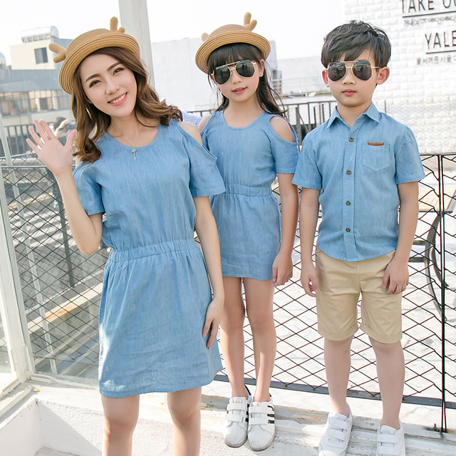 3675528255b6 Summer Family Matching Outfits Denim T Shirt For Father  Kids Son Mother  Daughter Dresses Kid Clothing Set-in Matching Family Outfits from Mother    Kids on ...