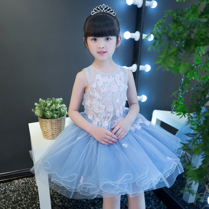 2017 New Girls Kids Summer Ebroidery Flowers Lace Dress Princess Birthday Party Ball Gown Mesh Dress Children Pageant Clothing цена
