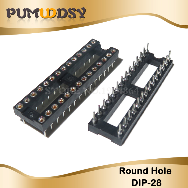 5pcs DIP28 Round Hole <font><b>28</b></font> Pins 2.54MM <font><b>DIP</b></font> IC <font><b>Sockets</b></font> Adaptor Solder Type <font><b>28</b></font> PIN 2.54 IC Connector image