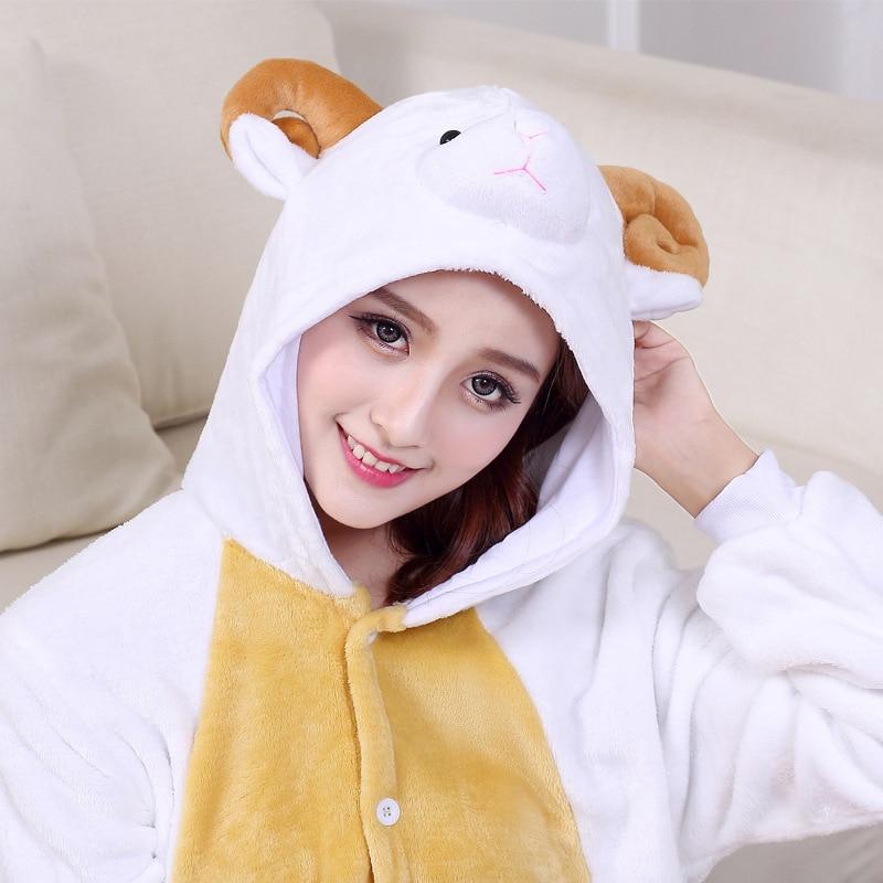 Animal Goat Kigurumi Adult Unisex Onesie  Cartoon Pajamas Flannel Warm Lovely Party Suit White Sheep Sleepwear Women Pyjamas New