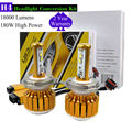 TAITIAN Pair 180W Car H4 LED Headlight Conversion Kit Turbo Hi/Lo Beam Bulbs 6500K 18000LM