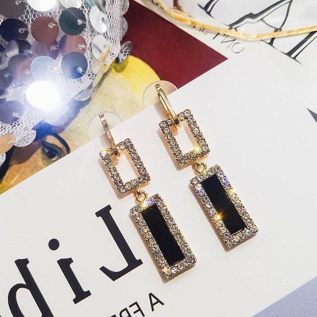 RscvonM ZA Fashion Jewelry Glass Drop Earrings For Women Shiny Rhinestone Dangle Square Earings For Girls.jpg 640x640 - RscvonM ZA Fashion Jewelry Glass Drop Earrings For Women Shiny Rhinestone Dangle Square Earings For Girls Wedding Accessories