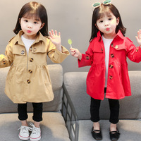 Classical Casual Girls Windbreaker Coats Single breasted Spring Autumn Kids Jackets for Girls Red Khaki Solid Children Outerwear