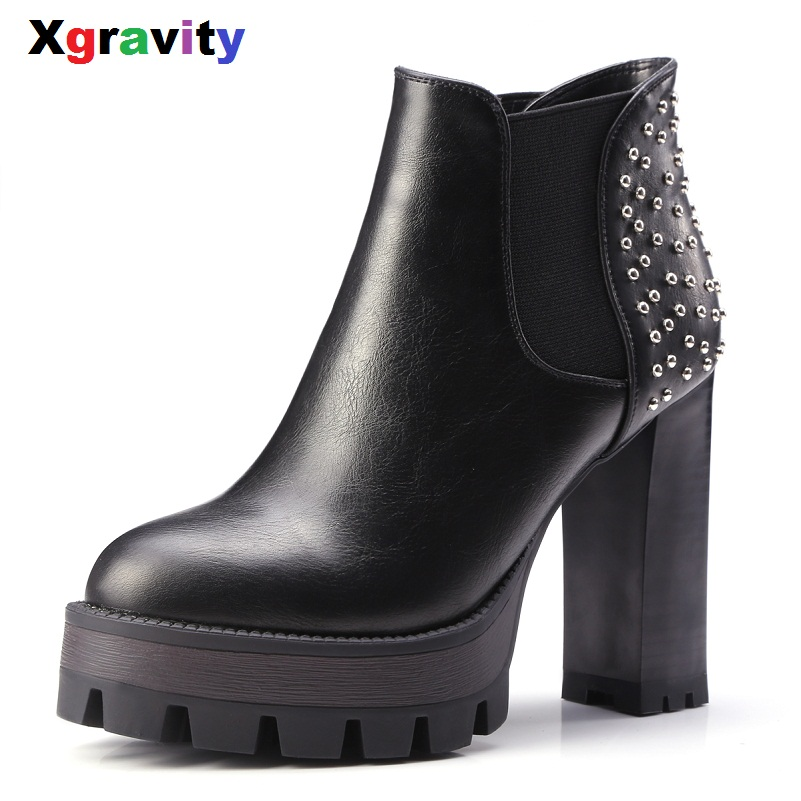 Hot New Sexy Round Toe Boots Elegant High Heeled Shoes Micro fabric Woman Ankle Boots Comfortable Woman Rivets Design Boots S027