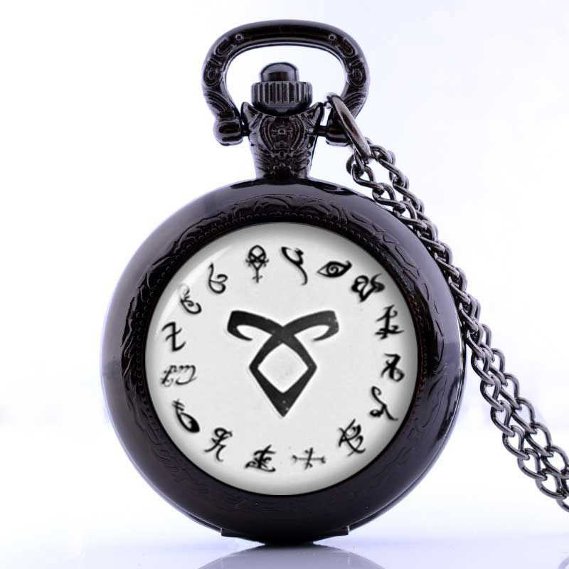 The Mortal Instruments City of Bones necklace vintage Angelic Power Runes Shadowhunters Pocket Watch pendant for men and women