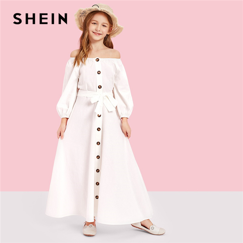 SHEIN Kiddie White Off the Shoulder Button Front Belted Maxi Casual Girls Dress 2019 Long Sleeve Fit and Flare Kids Dresses 2018 casual boho short sleeve maxi dress square neck floral printed ruffles dress loose flare sleeve a line ruffles dresses