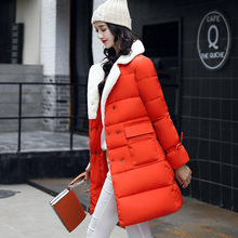 Women Clothing Solid Jacket Winter Female 2017 New Stylish Long Orange Red Pink Parka Coats Warm Waterproof Women's Winter Coat(China)
