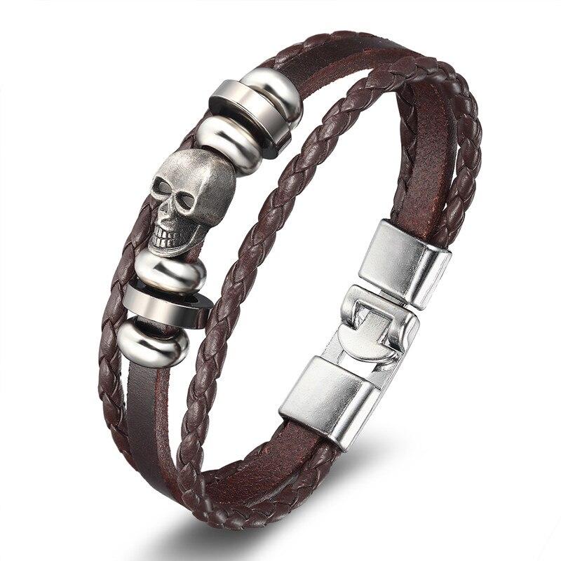18 New Fashion 3 layer Leather Skull Bracelets&Bangles Handmade Round Rope Turn Buckle Bracelet For Women Men Charm bracelet 17
