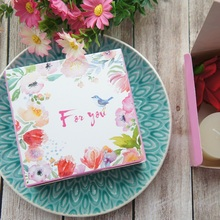 Hot Sale 12*12*4.5cm10pcs pink bird srping design Cheese Cake Paper Box Cookie Container gift Packaging Wedding Christmas Use
