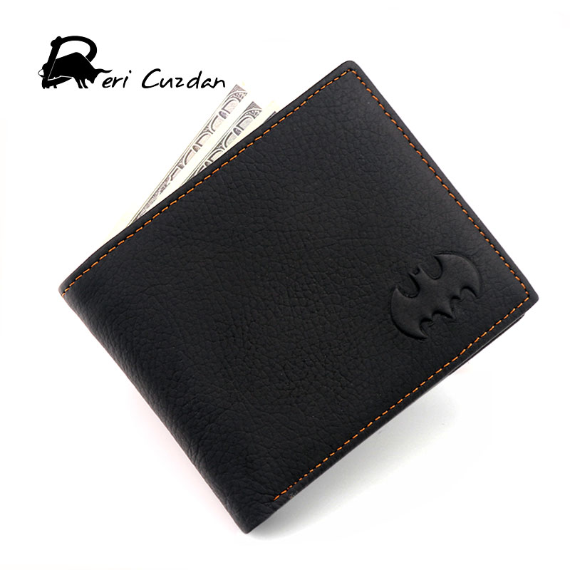 DERI CUZDAN Batman Wallets Men's Genuine Leather Wallet Simple Thin Wallet Men Anime Purses Male Portfolio Men's Wallets Vallet туфли deri