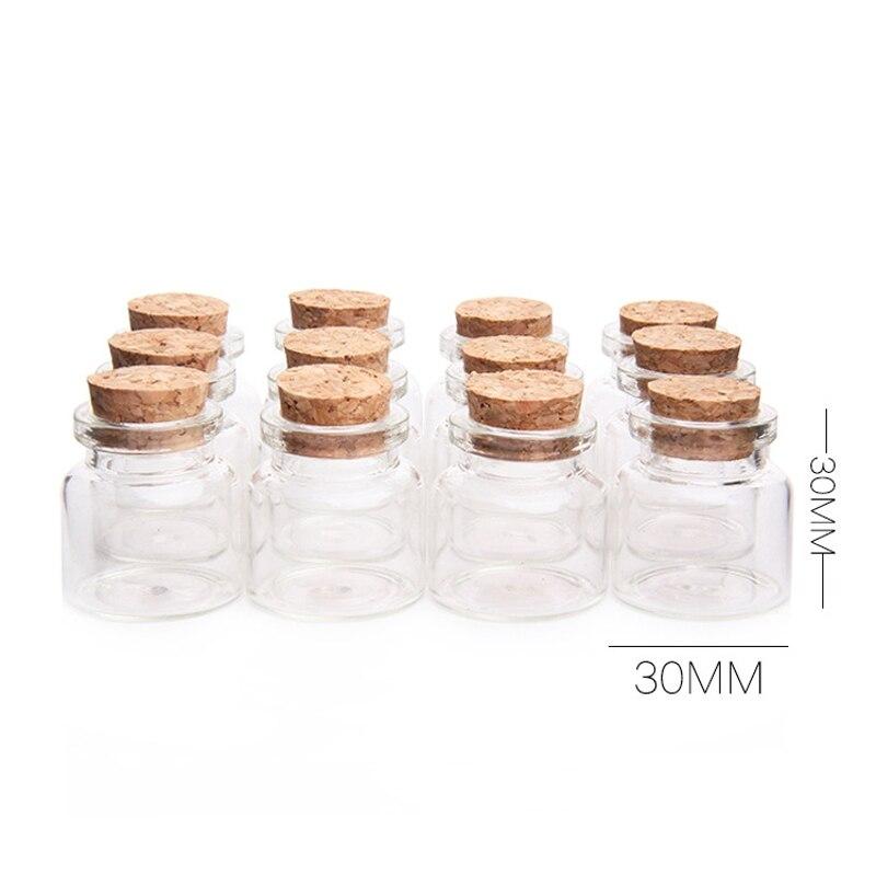 30x30mm 12pcs glass bottles cork stopper 10ml transparent glass jars bottle vials clear storage container home decor craftwork in storage bottles jars - Cheap Glass Jars