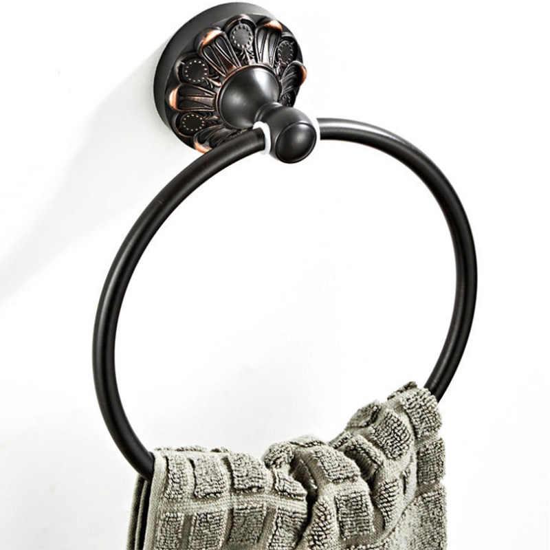 Czarny pierścienie ręcznik ścienny łazienka ręcznik kąpielowy posiadacze Vintage antyczny mosiądz okrągłe ręczniki pierścień wieszak do łazienki w kuchni