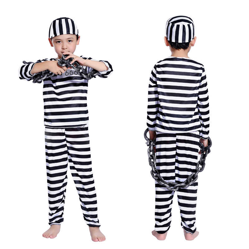 8e5385b7938 ... Halloween Cosplay Costume clothes boy child striped prisoner prisoner  costume masquerade costume