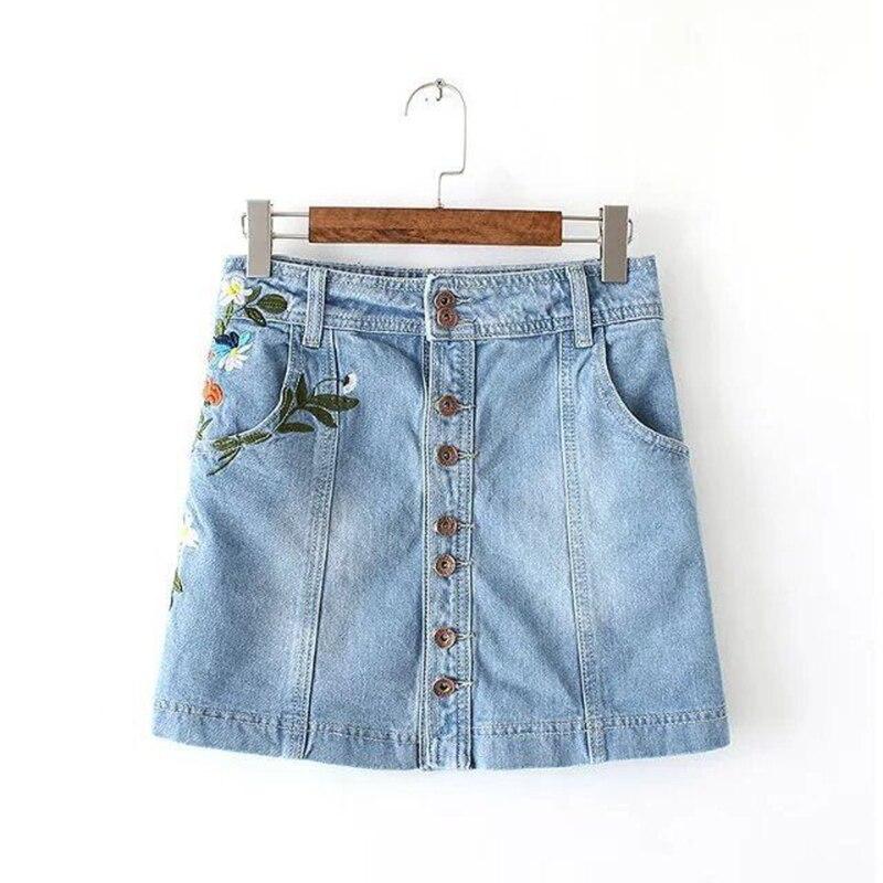 New Women Skirts Denim Jeans Button Embroidered Floral Fashion Slim Casual Vintage Faldas Mini High Waist Denim Skirt Female