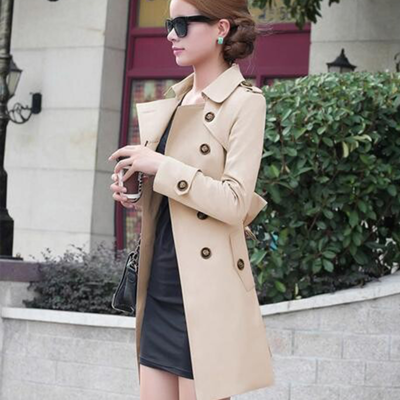1PC Trench Coat For Women Double Breasted Slim Fit Long Spring Coat Casaco Feminino Abrigos Mujer