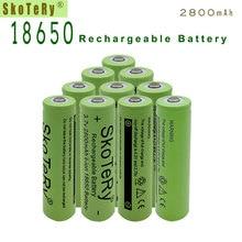 12pcs SkoTeRy Green 2800mah 18650 Battery 3.7V Rechargeable Li-ion for Led Flashlight Toys Cameras Wholesale