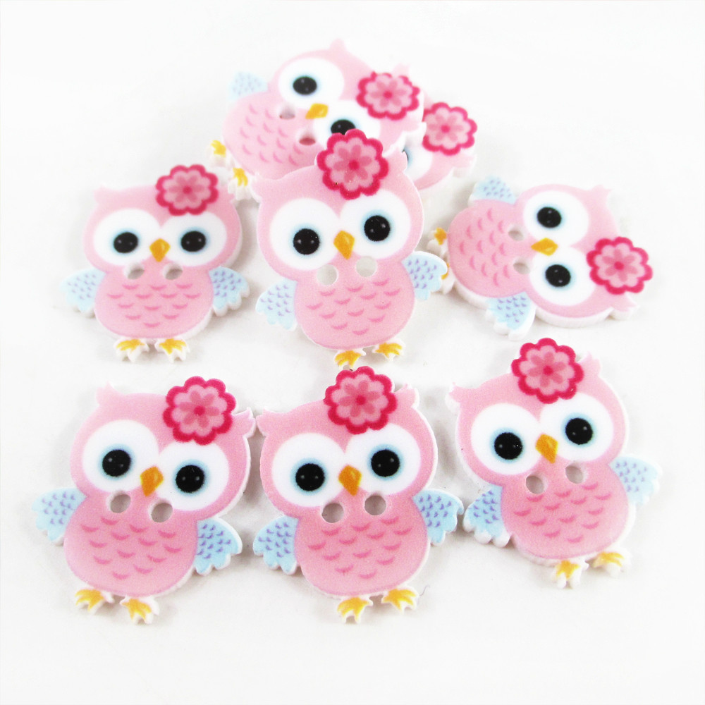 David Accessories 22*22mm Cute Animal Owl Button Resin