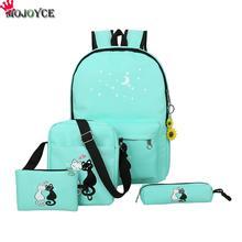 4 шт./компл. холст Для женщин сумка Школьный печать милый кот школьная сумка рюкзак для подростка Обувь для девочек Зеленый Рюкзак moclila