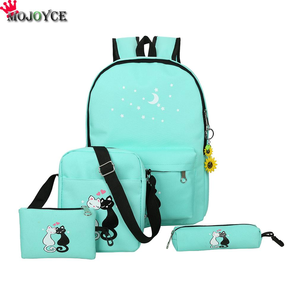 Women Backpack Cat Printing Canvas School Bags For Teenager Girls Preppy Style 4Set/PC Rucksack Cute Book Bag Mochila Feminina 2pcs set preppy style canvas backpack women letter printing backpacks school bags for teenager girls schoolbag female travel bag
