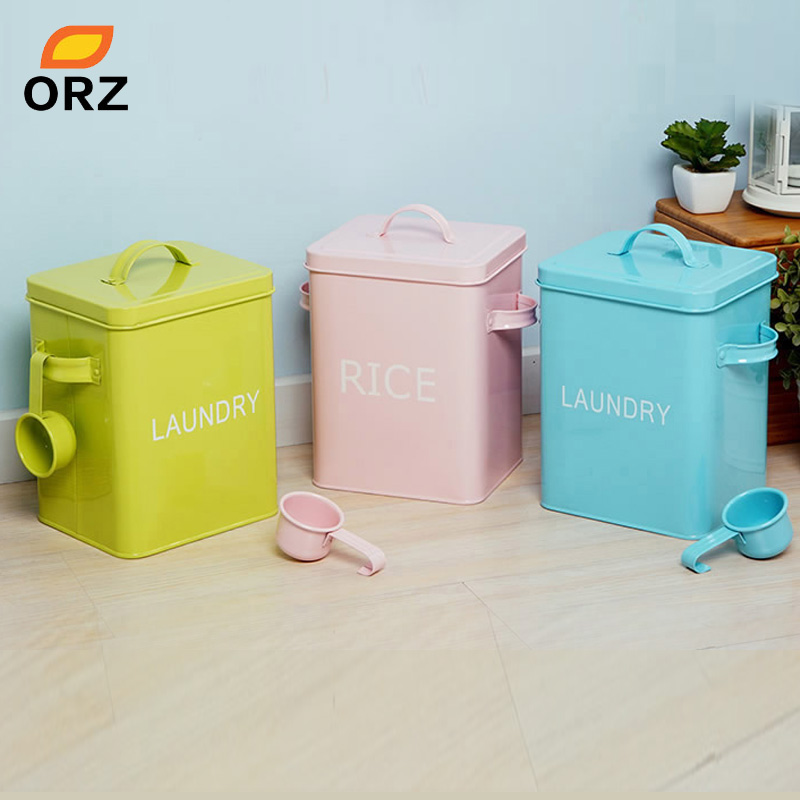 Tt Orz Colorful Laundry Powder Box Storage Bin For Detergent Washing Pet Dog Cat Food Container Organizer In Bo Bins From