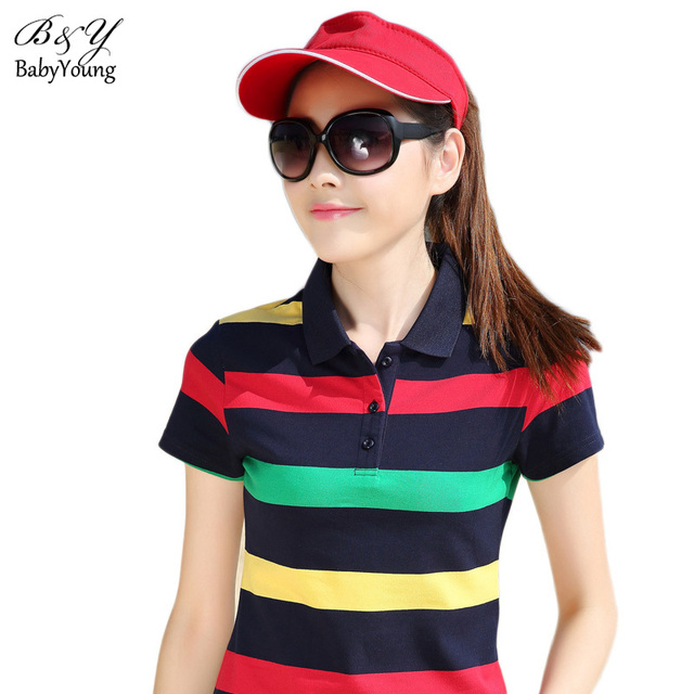 Fashion Brand Women Casual Polo Shirt Short Sleeve Knit Shirt Lapel Striped Cotton Slim Polo Femme Breathable High Quality Tops