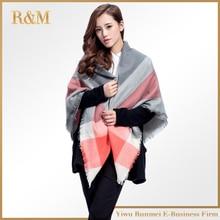 140x140cm winter acrylic cashmere tartan plaid scarf brand blanket shawl designer pashmina wrap stole for Lady