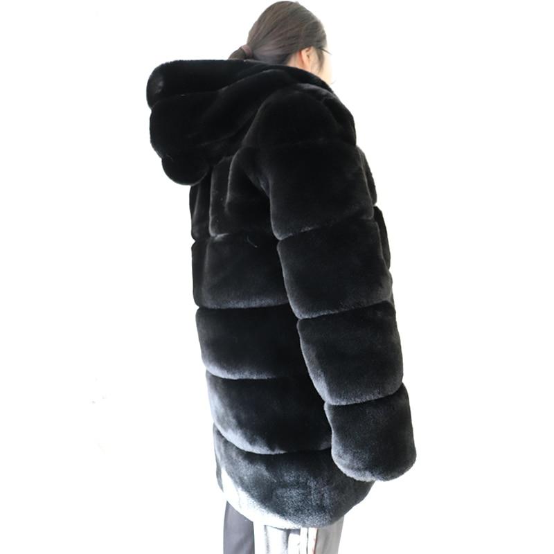 Avec Ljls110 Hiver Fourrures Femmes Lapin Artificielle Overwear Faux De Capuche Chaud Fourrure Manteau Femelle Veste Super Black Doux wgSaBxRqWY