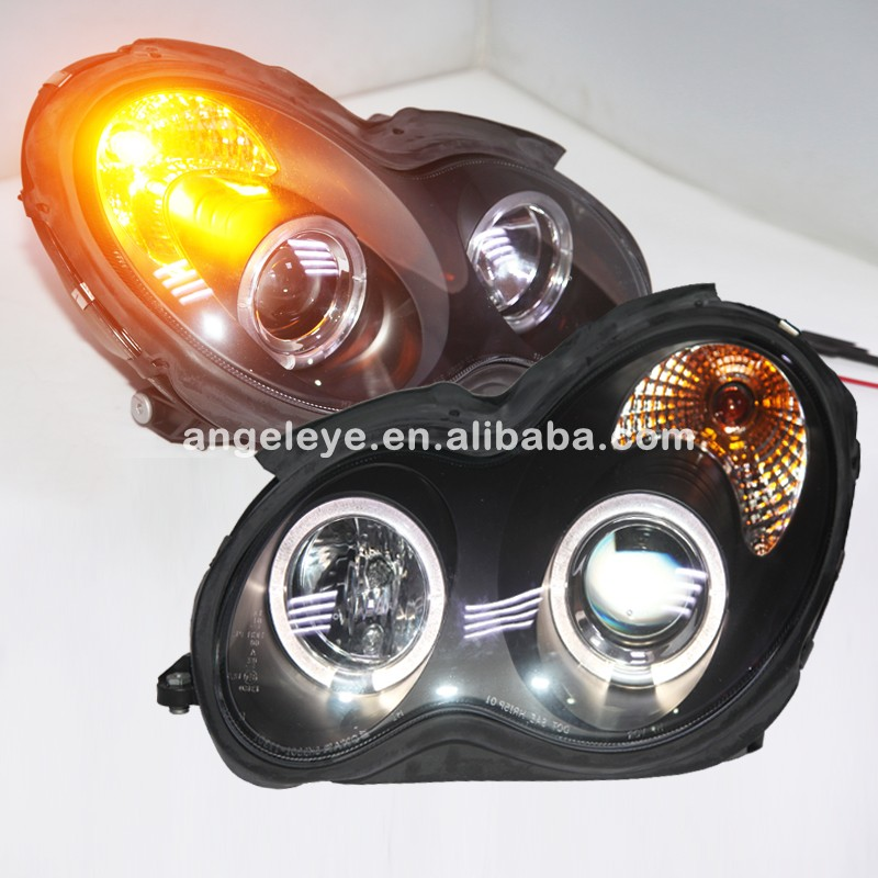 For Mercedes-Benz <font><b>W203</b></font> 2000-2007 Year <font><b>LED</b></font> Head Light with Angel Eyes SN