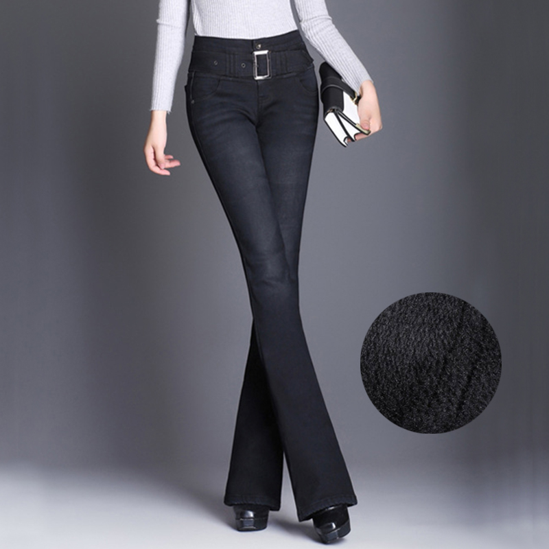 Womens Fashion Slim Thicken Thermal   Jeans   Add Cashmere Blend Stretchy High Waist Straight Retro Brushed Flare   Jeans   Winter Pants