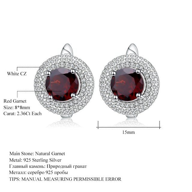 GEM'S BALLET 4.73Ct Round Natural Red Garnet Wedding Earrings 925 Sterling Silver Gemstone Stud Earrings For Women Fine Jewelry