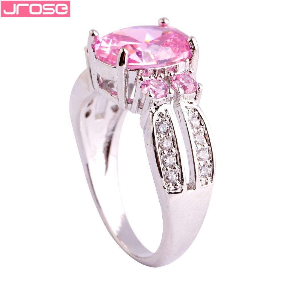 JROSE Nusja e Nuseve me Prerje Ovale me Rozë dhe Bardhë Gurë - Bizhuteri të modës - Foto 3