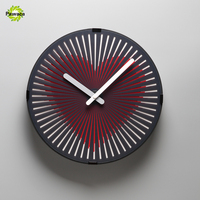 Charminer Red Heart/ Runnig Horse/ Owl/ Walking Man Magical Phantom Clock Dynamic Animation Living Room Wall Clocks Plastic+PVC