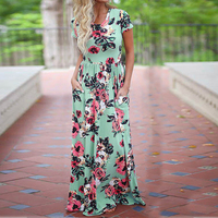 2017 Summer Long Maxi Dress Plus Size Women Floral Print Boho Beach Tunic Dress Casual Short