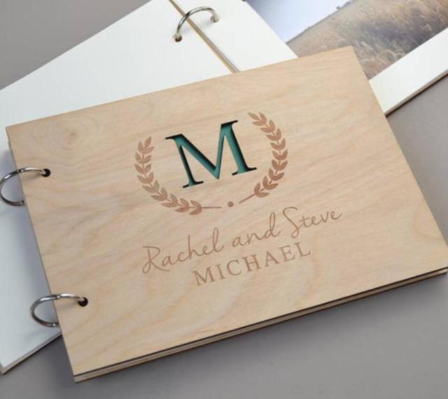 Personalised Monogram Wedding Guest Book Wooden Guest Book Rustic ...