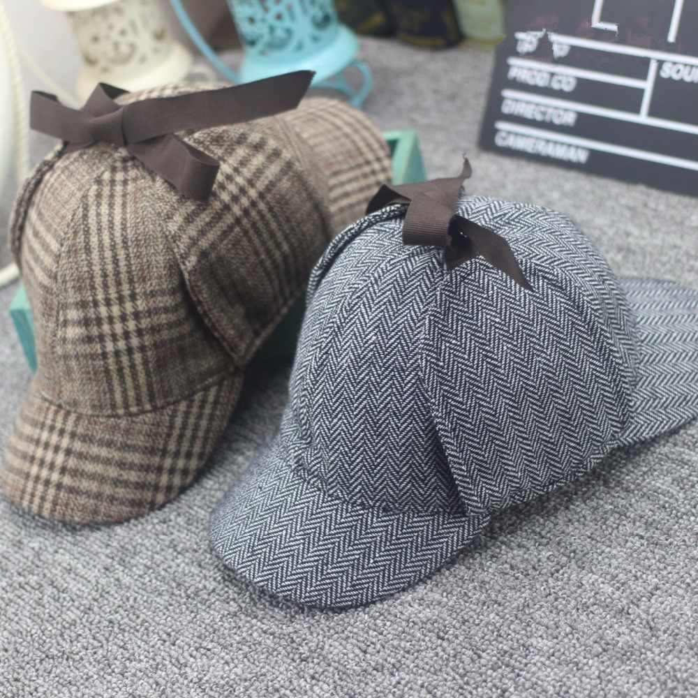 45de9934 ... High Quality Cosplay Cap Detective Sherlock Holmes Deerstalker Hat Gray  Caps New Berets Cap Vestidos ...