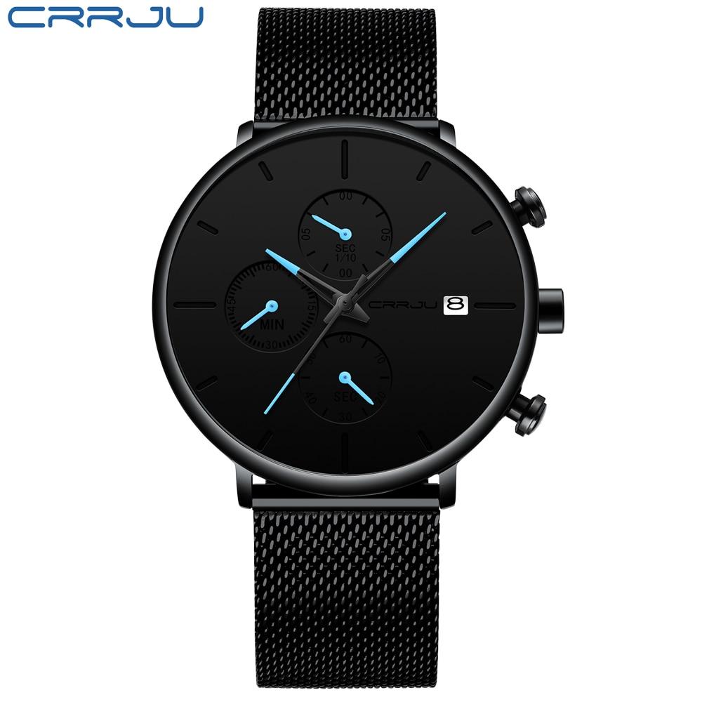 CRRJU mode montre hommes étanche mince maille bracelet minimaliste montres pour hommes Quartz sport montre horloge Relogio Masculino 1