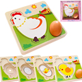 Multilayer Chicken Growth Hen Growing Up Story Cartoon Children Kids Wooden Puzzles Panel Process Emulational Eggs Toys Baby