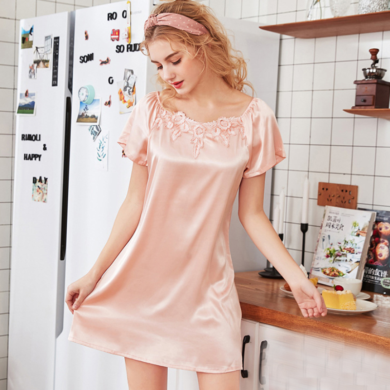 NG0336 2019 New Spring Summer Women   Nightgowns     Sleepshirts   Ladies Short Mini Sexy Nightdress Satin Silk Sleepwear Lingerie Gowns