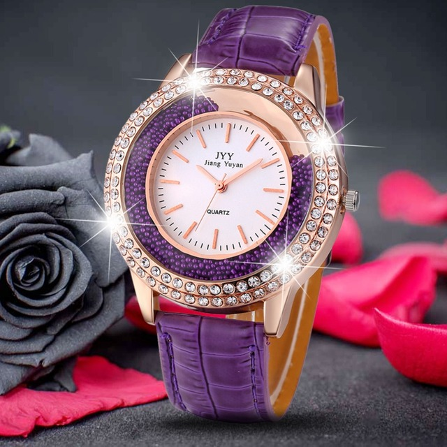 Hot Dropship Luxury Brand Fashion Ladies Leather Crystal Diamond Rhinestone Watc