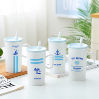 Fashionable Blue Ocean Wind Ceramic Cup Large Capacity Water Glass Mug Chinese Porcelain Coffee Milk Cup