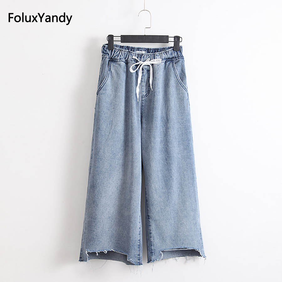 Hole Loose Denim Wide Leg Pants Women Plus Size 3 4 XL Elastic Waist Jeans KKFY1371