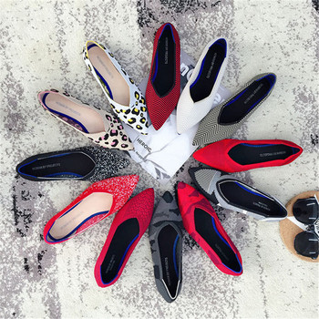2019 Women's Flat Shoes Ballet Shoes Breathable Knit Pointed Shoes Moccasin Mixed Color Women's Soft Shoes Women Zapatos De