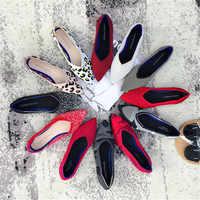 2019 chaussures plates pour femmes chaussures De Ballet respirant tricot chaussures pointues mocassin couleur mixte femmes chaussures souples femmes Zapatos De